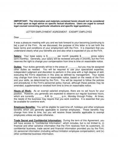 letter of employment agreement example