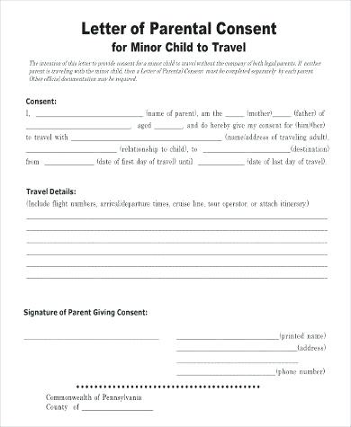 letter of parental consent for minor child to travel sample template