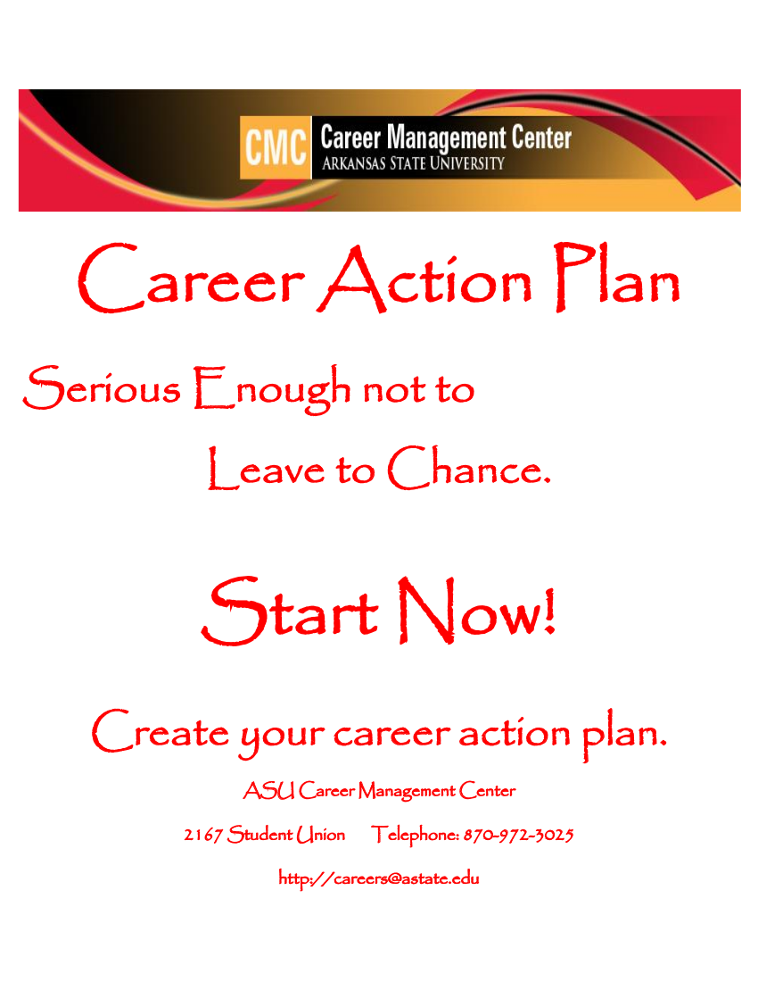 life after college career action plan example