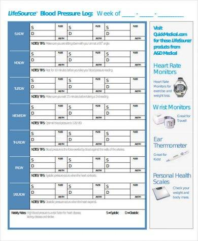 life source blood pressure log