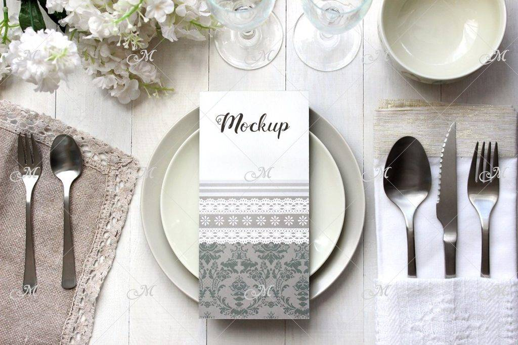 light grey table card example