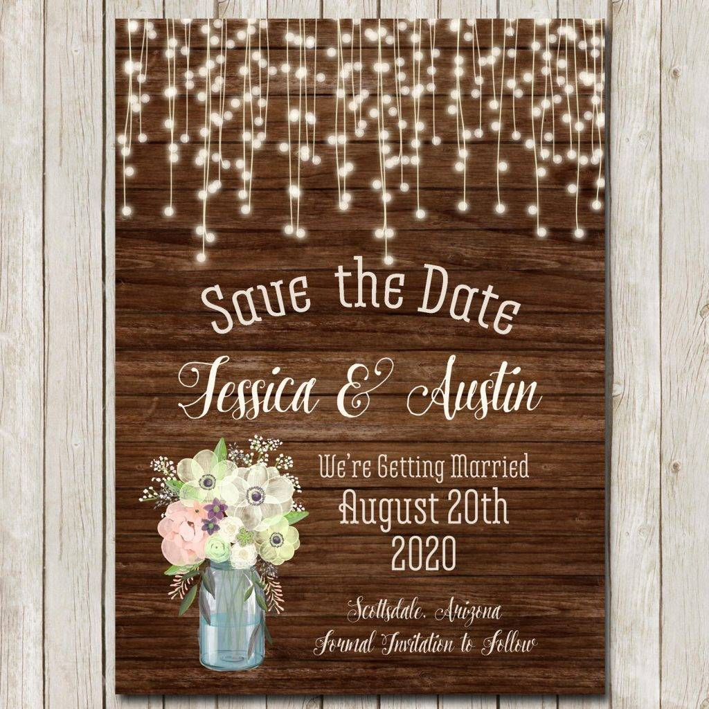 lights and rustic save the date example