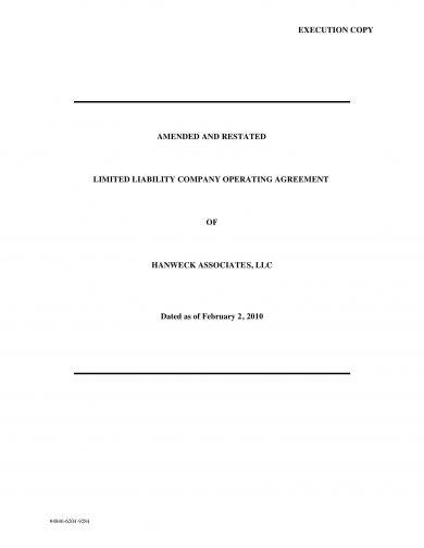 limited liability company llc operating agreement example