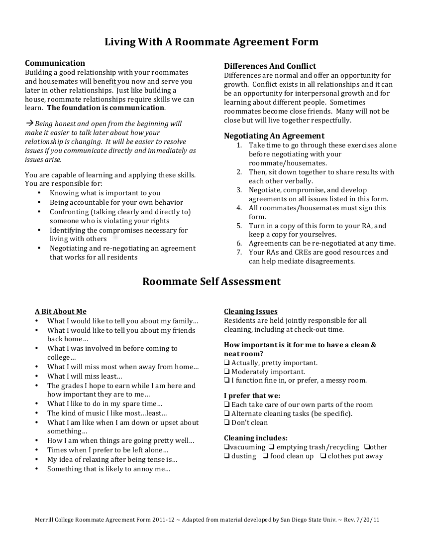 living with a roommate college agreement example