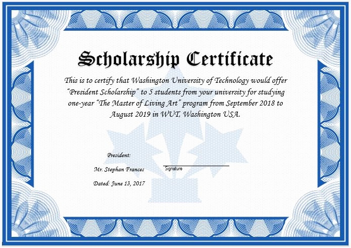 lovely scholarship award certificate example
