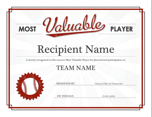 mvp certificate example