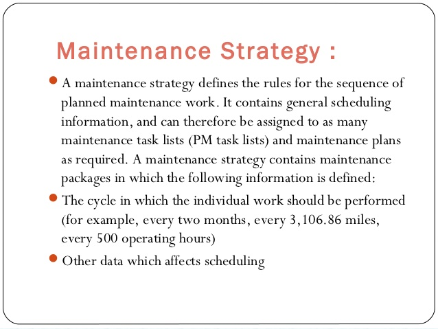 maintenance strategy example definition