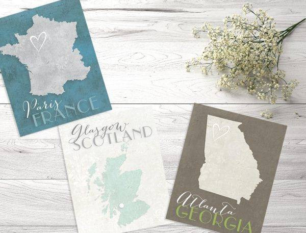 map wedding table card example1