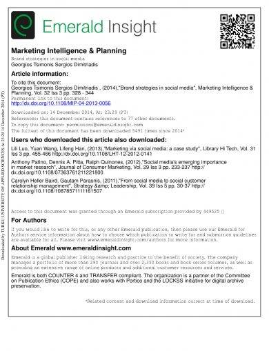 marketing intelligence and planning brand strategies in social media example