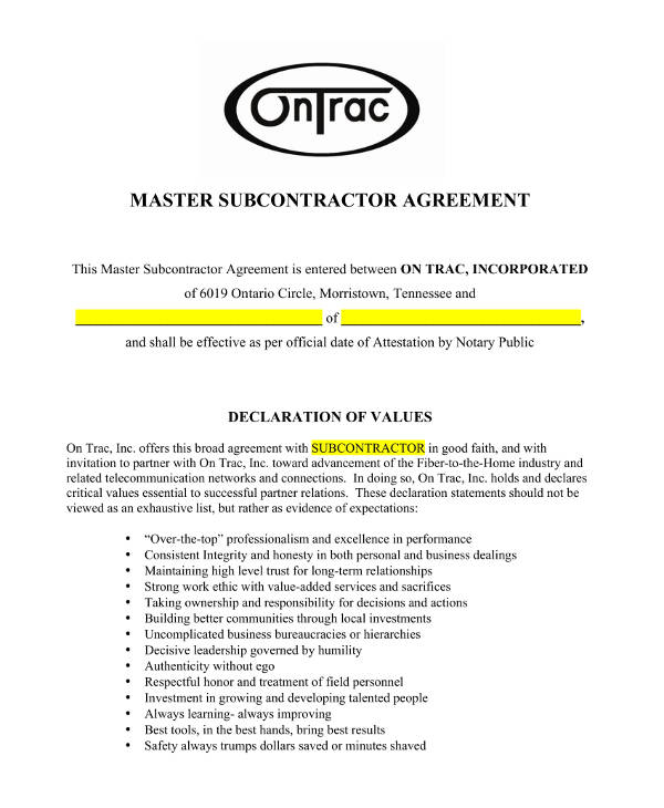 master subcontractor agreement example