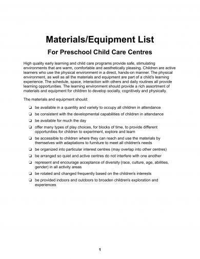 materials or equipment list for preschool child care centres example