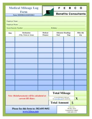 medical mileage log example