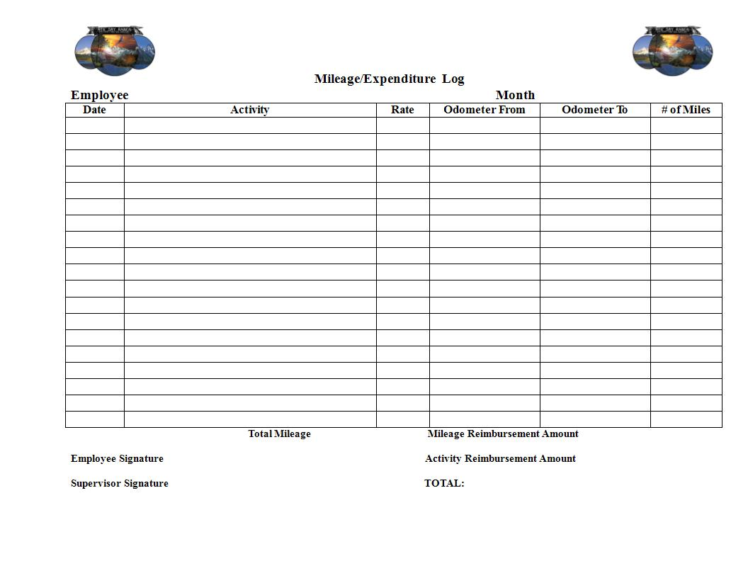 mileage expenditure log template example