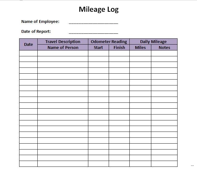 26  printable mileage log examples
