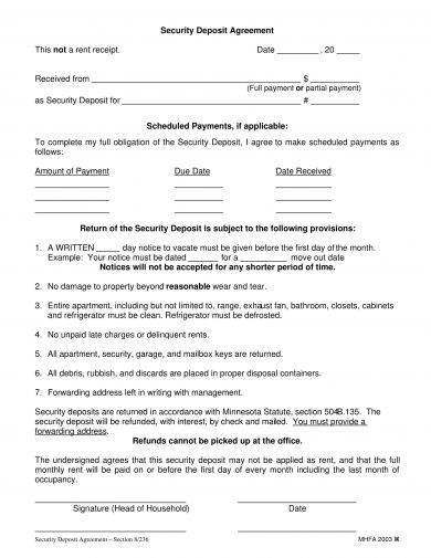 minimalist security deposit agreement example