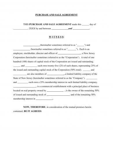 minimalist stock sale agreement example1