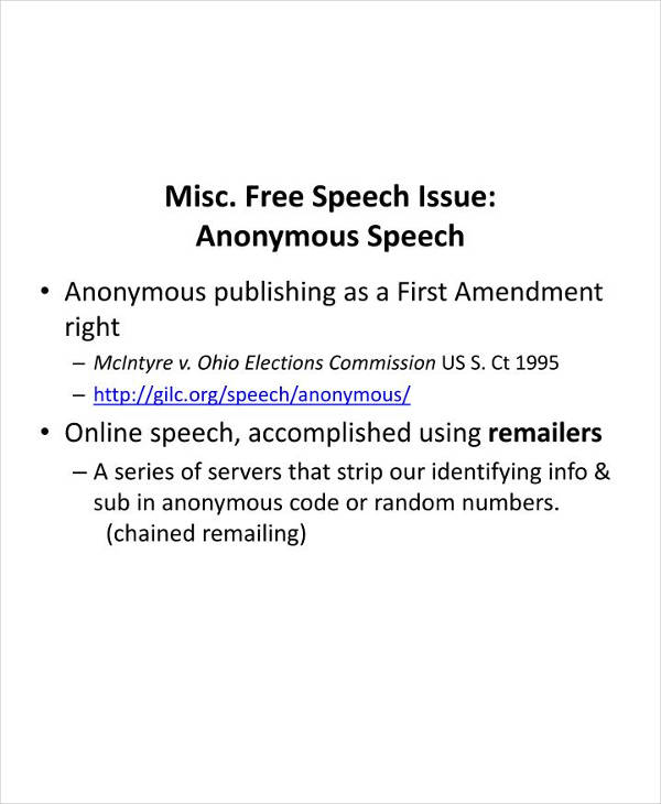 miscellaneous free speech issue anonymous speech