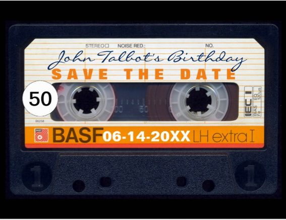mixtape inspired birthay save the date design example e1528867473666