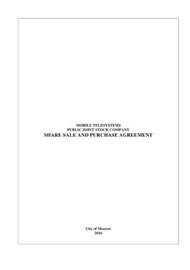 mobile telesystems stock sale agreement example1