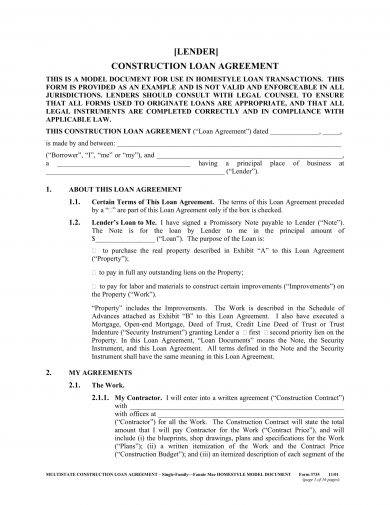 model construction loan agreement example