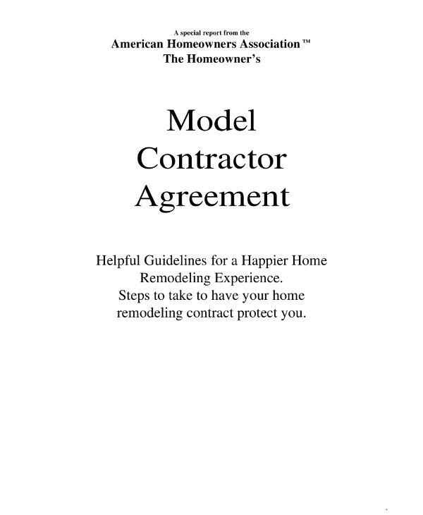 model contractor agreement example