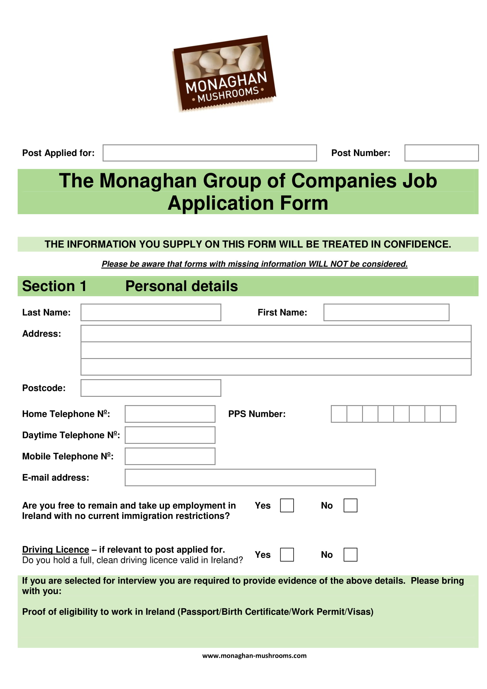 monaghan group of companies job application form example