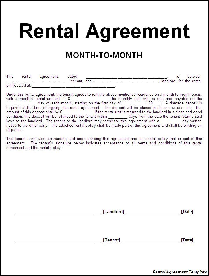 month to month tenancy agreement example