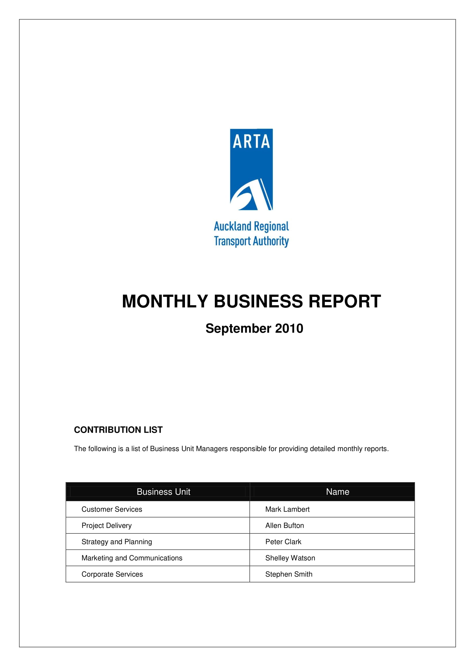 monthly business report example 01