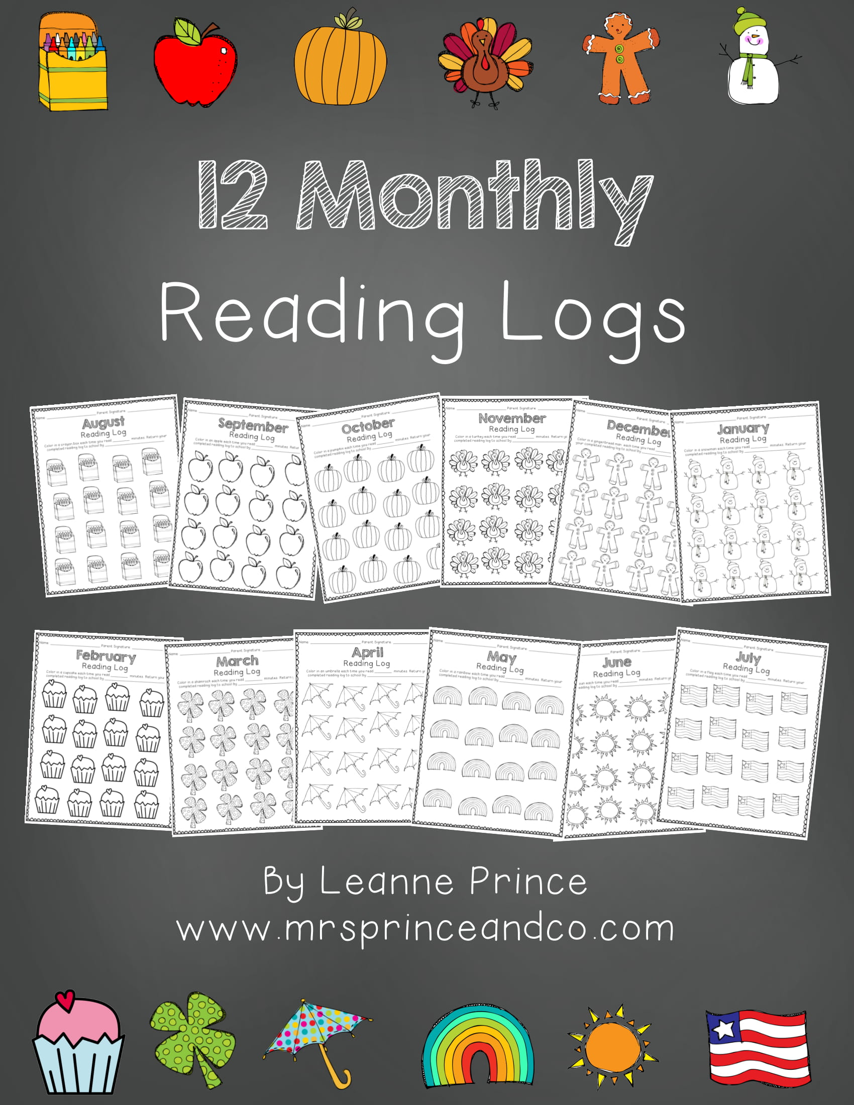 monthly reading logs for kids example