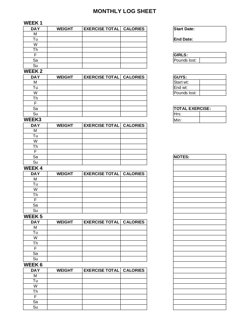 monthly workout log example