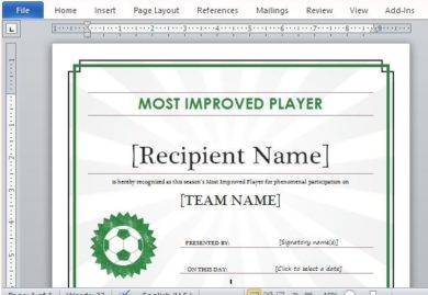 most improved player certificate1