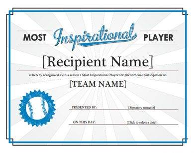 most inspirational player award certificate1