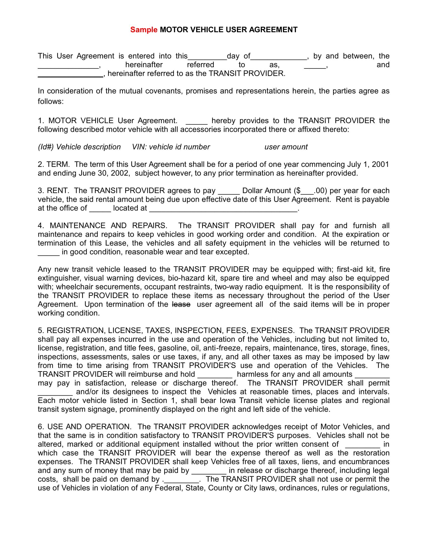 motor vehicle user agreement example