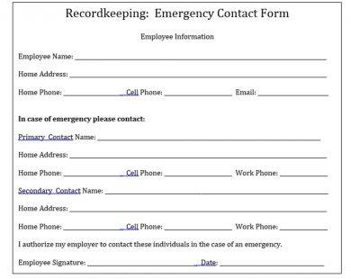 napsa emergency employee information form example1