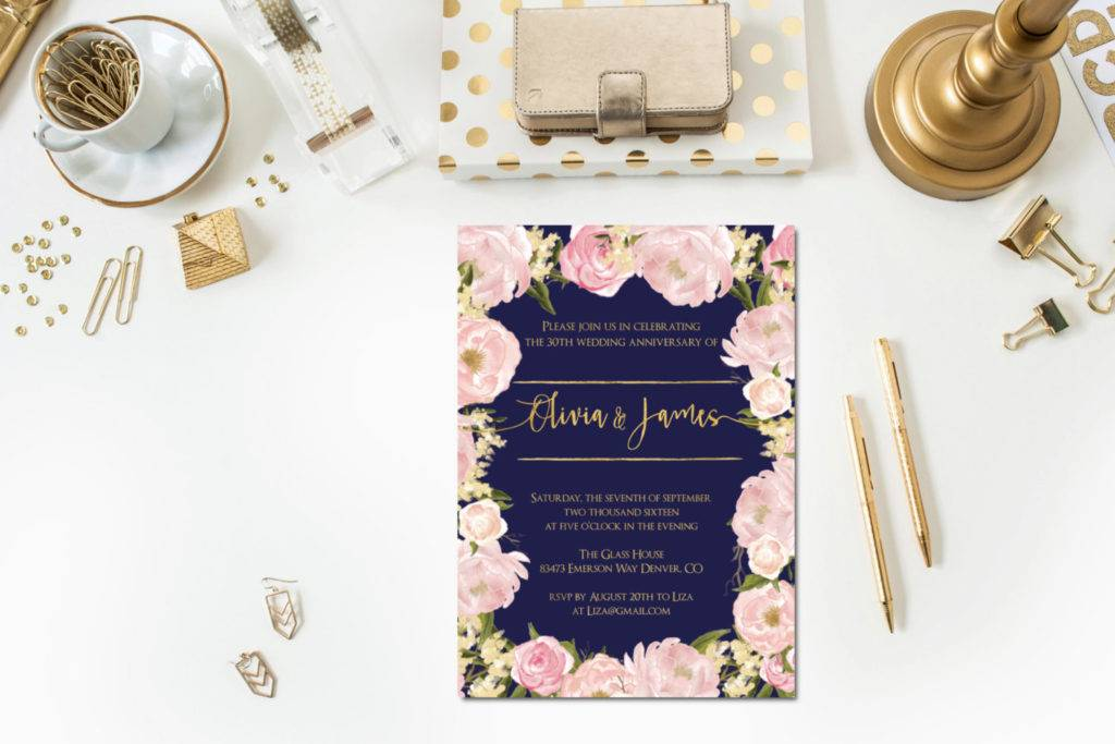 navy blush anniversary announcement party example 1024x683
