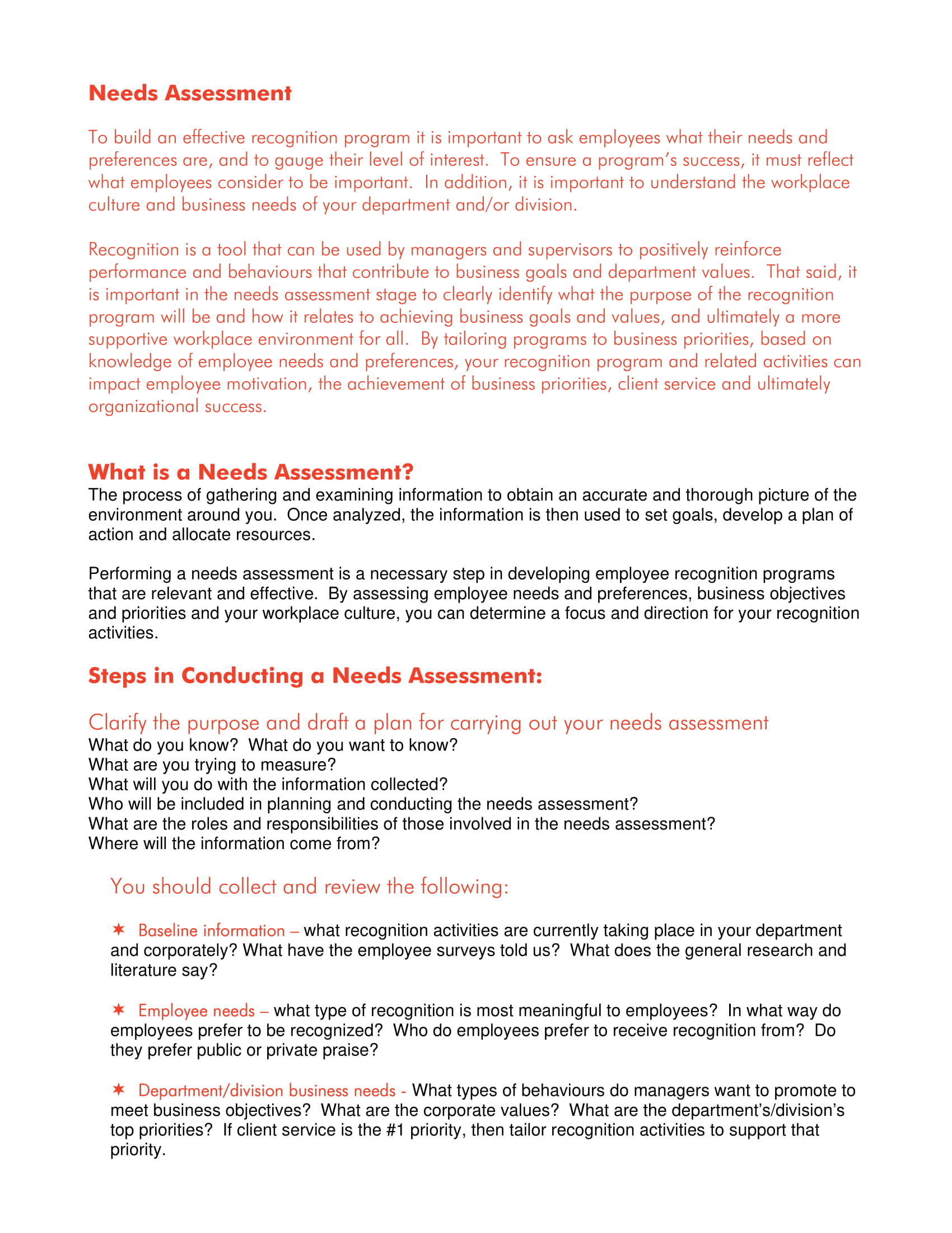 needs assessment conduct guidelines example 1