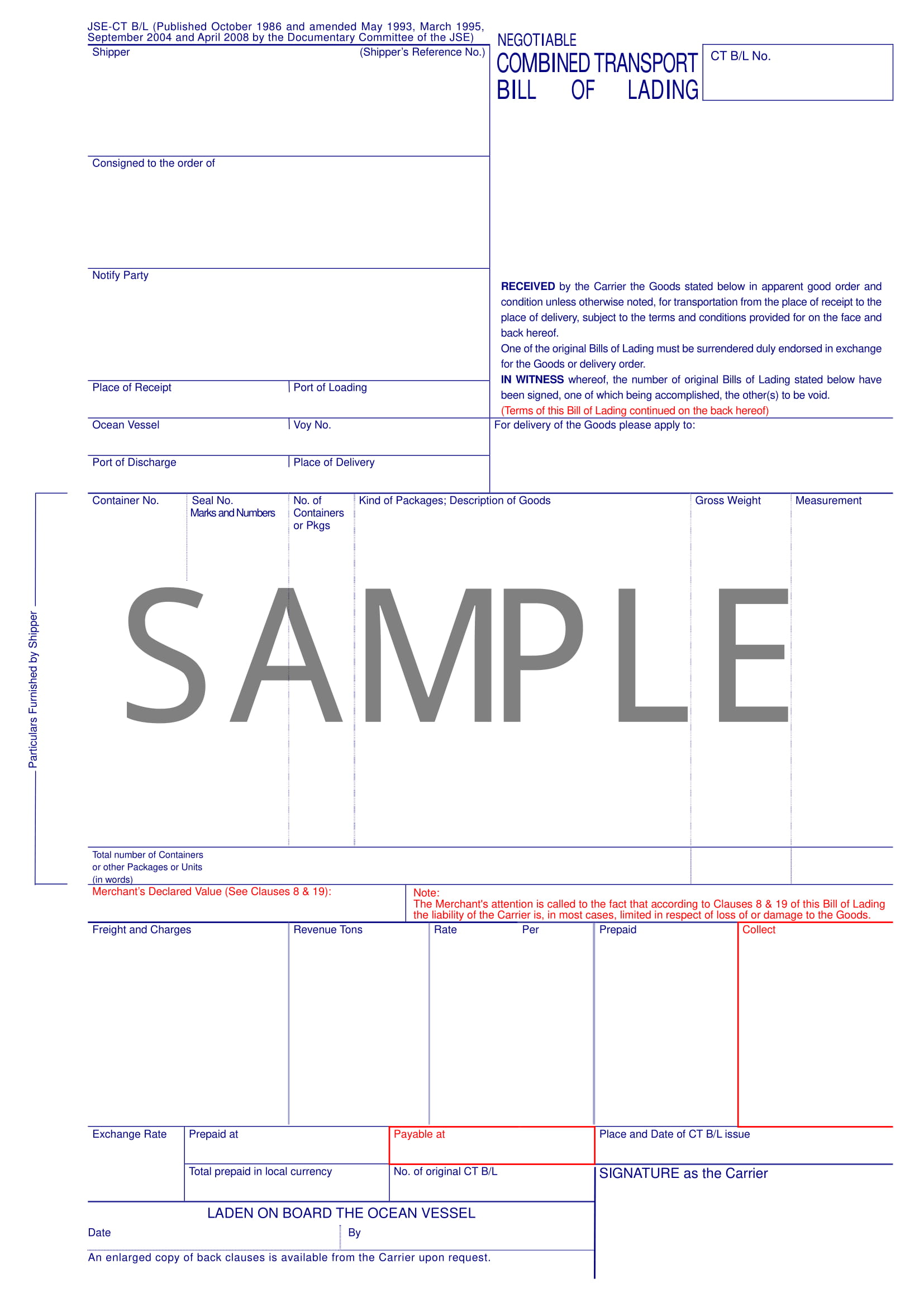 negotiable combined transport bill of lading form example 1