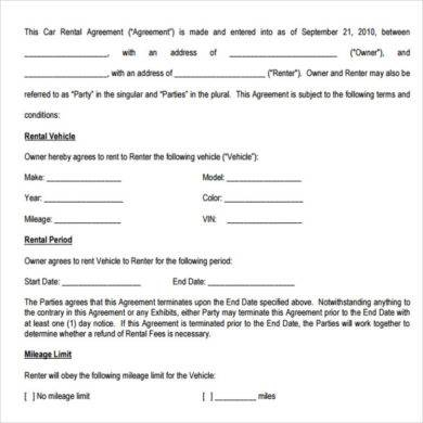 Car Rental Agreement | 9 Car Rental Agreement Examples Pdf