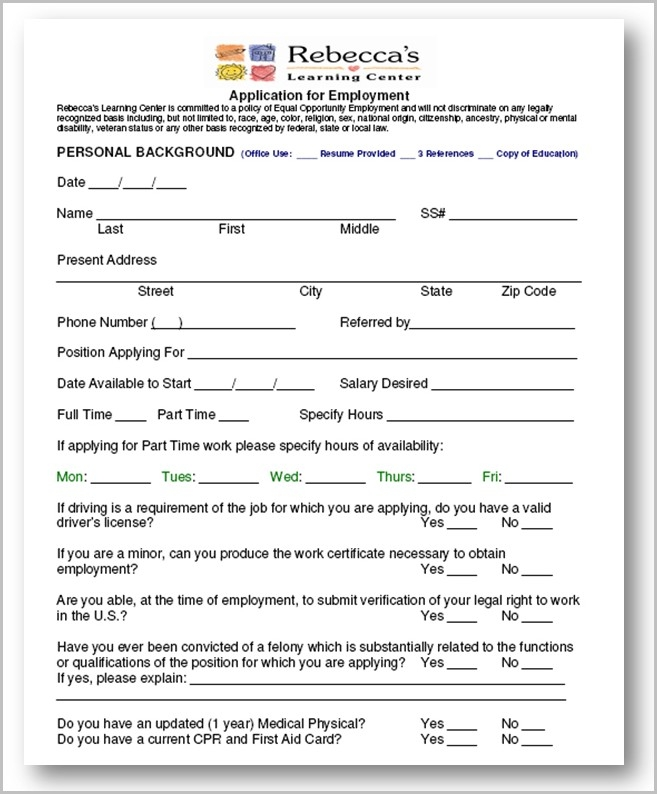 new daycare job application form example