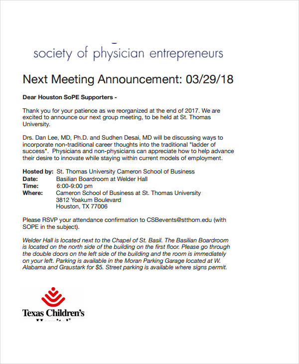 next meeting announcement
