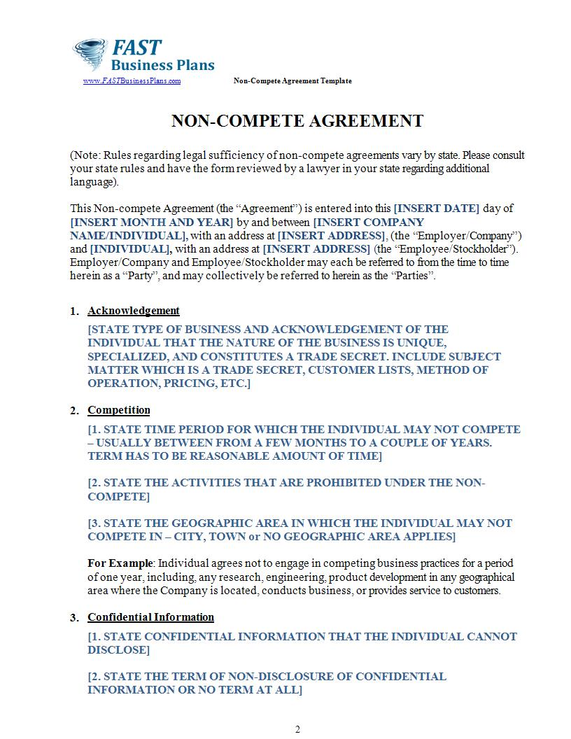 non compete agreement template example