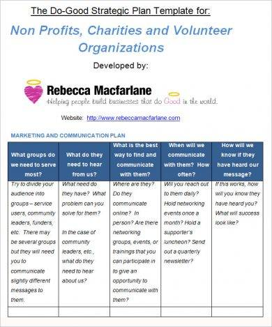 non profit strategic action plan example1