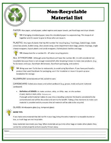 non recyclable material list example