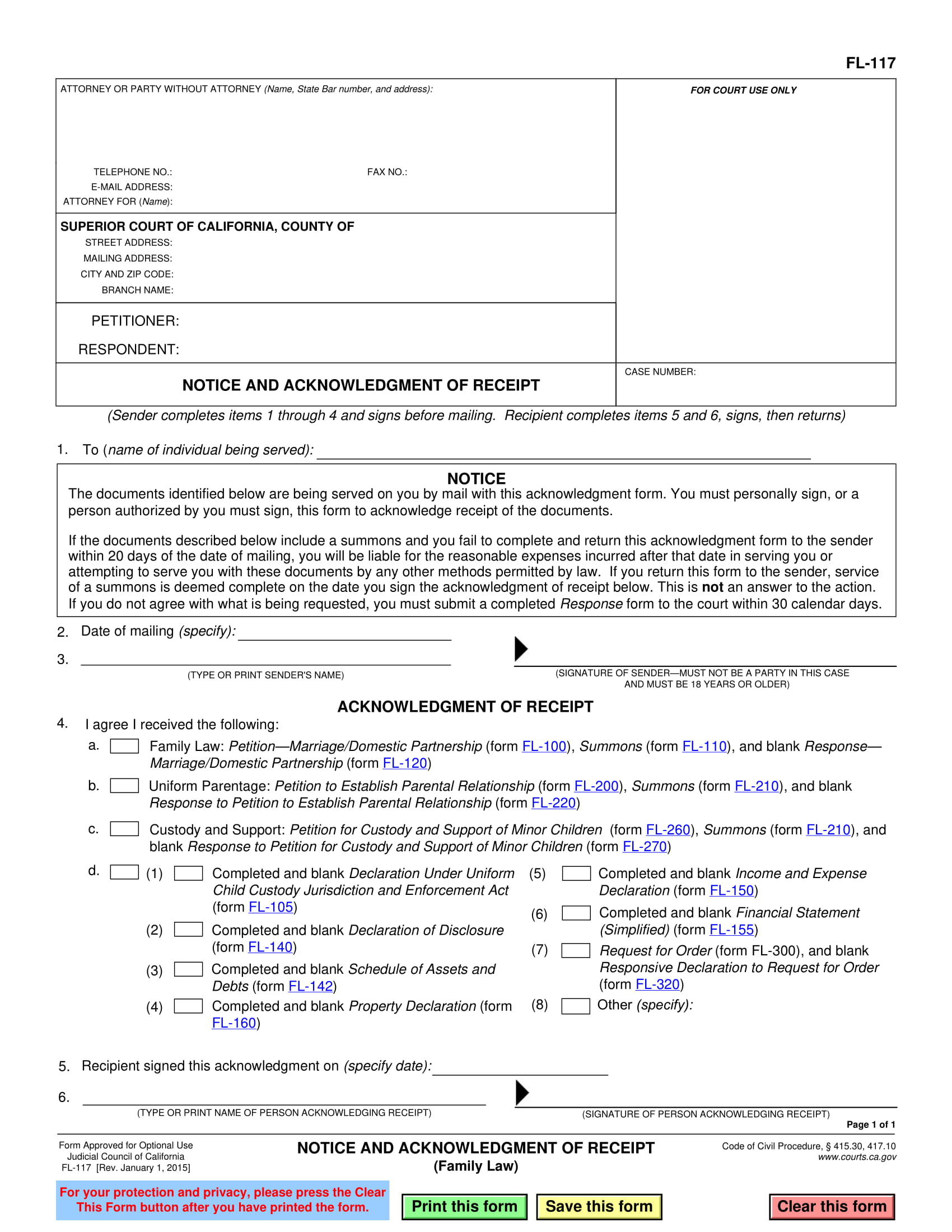 notice and acknowledgement receipt example