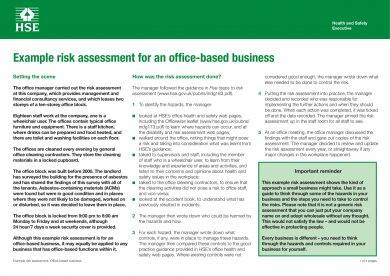 office based business risk assessment template example