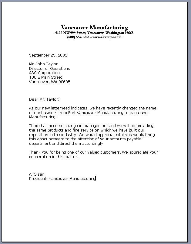 official business letter example