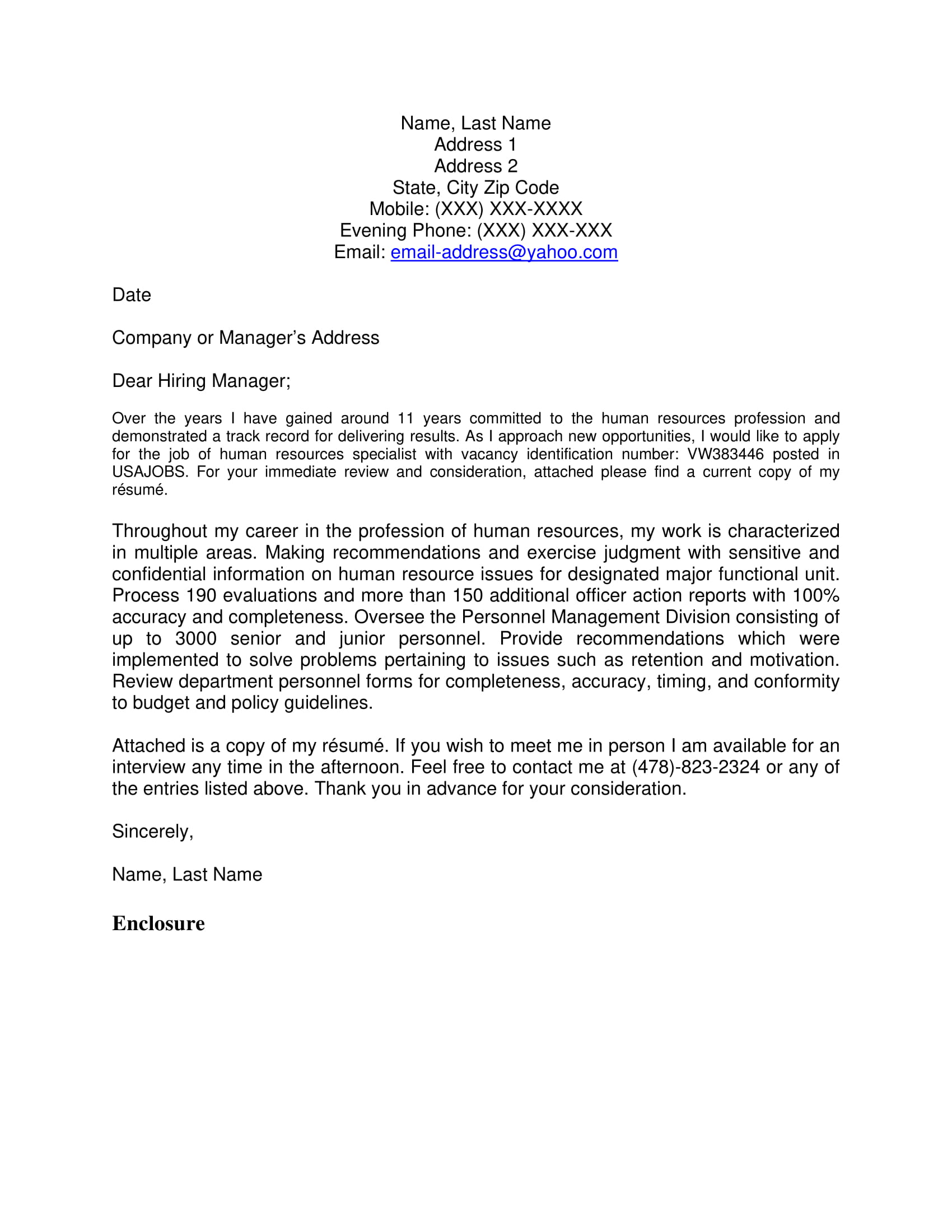 official cover letter for federal manager appliaction example