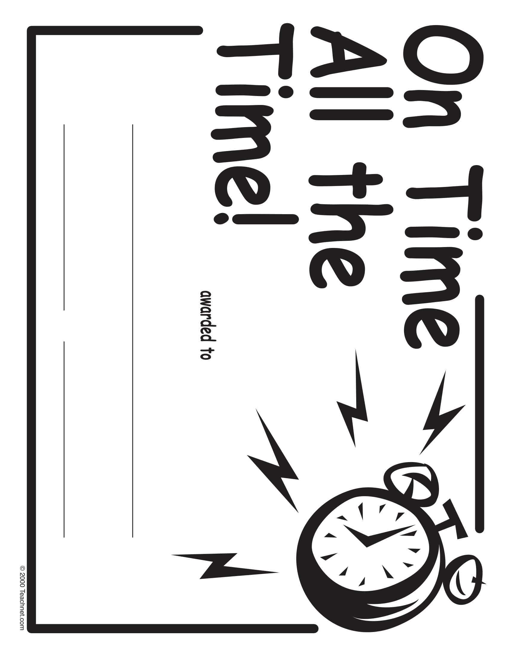 on time blank award certificate example