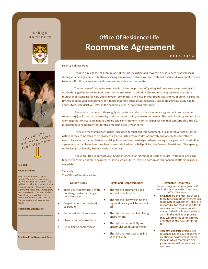 one page college roommate agreement example