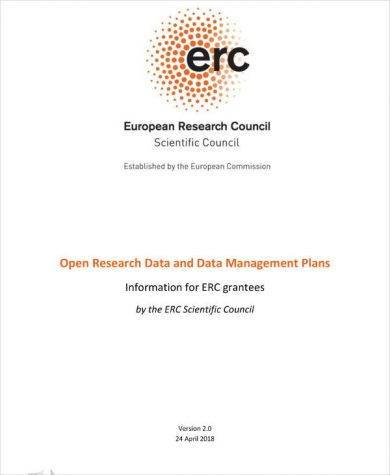 open research data and data management plan exampl